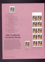 USPS Souvenir Page 92-39   2710,10a    29c Trad Xmas 92-39