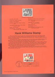 USPS Souvenir Page 93-18   2723      29c Hank Williams 93-18