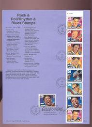 USPS Souvenir Page 93-19   2737b & 2731  29c Rock 'n' Roll  93-19