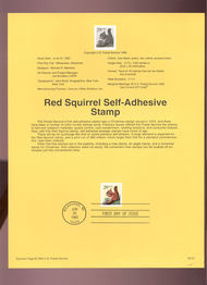 USPS Souvenir Page 93-21   2478      29c Red Squirrel S 93-21