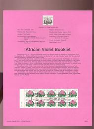 USPS Souvenir Page 93-27   2495a     29c African Violet 93-27