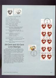 USPS Souvenir Page 94-07   2814a-15    29c(2) & 52c Love 94-07