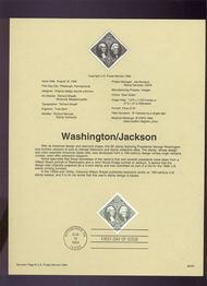 USPS Souvenir Page 94-24   2592      $5.00 Wash.& Jacks 94-24