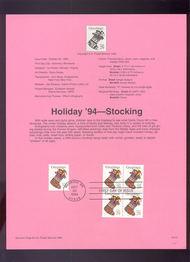USPS Souvenir Page 94-31   2872/72a    29c Christmas Stoc 94-31