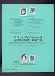 USPS Souvenir Page 94-32   2873/74    29c Santa & Cardin 94-32