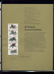 USPS Souvenir Page 95-50   3019-23    32c Antique Autos 95-50