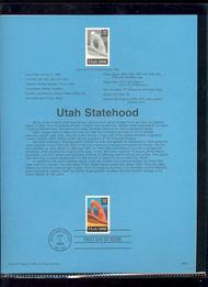 USPS Souvenir Page 96-01   3024      32c Utah Statehood 96-01