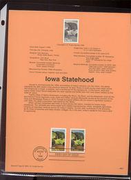 USPS Souvenir Page 96-27   3089-88    32c Iowa (2) 96-27