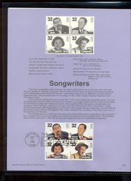 USPS Souvenir Page 96-32   3103a     32c Songwriters 96-32