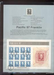 3139 USPS Souvenir Page 97-13 50c Franklin Sheet 97-13