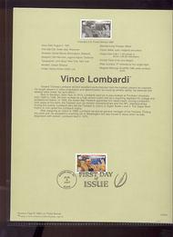 3148 USPS Souvenir Page 97-20B 32c Vince Lombardi 97-20B