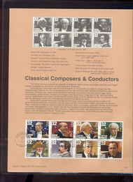 3158-65 USPS Souvenir Page 97-24 32c Classic Composers 97-24