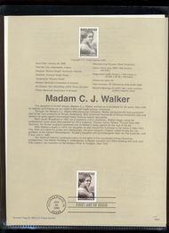 3181     32c Madam C. J. Walker USPS Souvenir Page 98-03