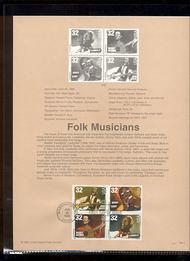 3212-15   32c Folk Musicians (Block of 4) USPS Souvenir Page 98-13