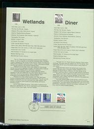 3207-08   (5c) Wetlands, (25c) Diner USPS Souvenir Page 98-15