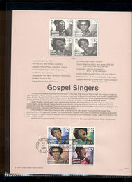 3216-19   32c Gospel Singers (Block of 4) USPS Souvenir Page 98-17