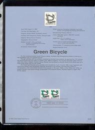 3229     (5c) Modern Bicycle Coil Pair USPS Souvenir Page 98-24B