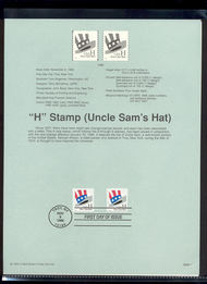 3264-65   (33c) Hat Coil - Two Types USPS Souvenir Page 98-35