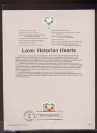 3275     55c Love-Victorian Hearts USPS Souvenir Page 99-04