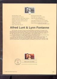 3287     33c Alfred Lunt & Lynn Fontanne USPS Souvenir Page 99-09