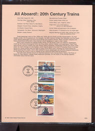 3337a    33c 20th Century Trains (5) USPS Souvenir Page 99-30