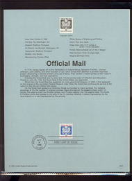 O157     33c Official Mail Coil Stamp USPS Souvenir Page 99-37