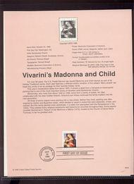 3355     33c Vivarini's Madonna & Child USPS Souvenir Page 99-40