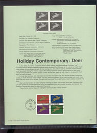 3359a    33c Contemporary Christmas: Deer (4) USPS Souvenir  99-41