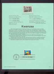 3368     33c Kwanzaa Holiday USPS Souvenir Page 99-42
