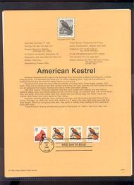 3031     1c Kestrel (3) w/30c Cardinal USPS Souvenir Page 99-44