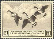RW 3 1936 Duck Stamp $1 Canada Geese F-VF Unused Minor Defects rw3ogmd