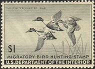 RW12 1945 Duck Stamp $1 Shovellers F-VF Unused Minor Defects RW12ogmd