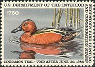 RW52 1985 Duck Stamp $7 50 Cinnamon Teal F-VF Unused OG rw52og