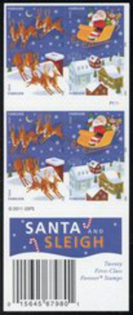 4715ai (45c) Santa & Sleigh Imperf Booklet of 20 No Die Cuts 4712-5aimp