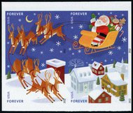 4712-5i (45c) Santa & Sleigh Imperf Block of 4 No Die Cuts 4712-5imp