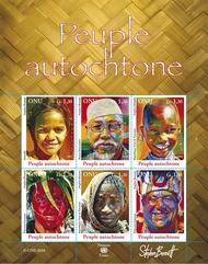 UNG 529 1.30 fr Indigenous People Souvenir Sheet of 6 ung529