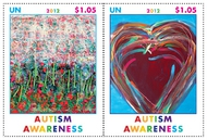 UNG 547-8 1.40 Autism Awareness Inscription Block of 4 ung547ins