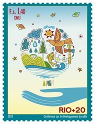 UNG 553 1.40 Fr Rio + 20 Inscription Block of 4 ung553ins