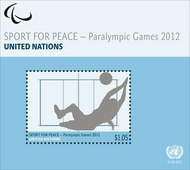 UNG 555a 1.40 Fr Paralympics Souvenir Sheet ung555a
