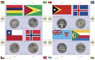 UNNY 1022 2011 44c Coin & Flags Sheet of 8 Mint NH unny1022