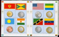 UNNY 1078 46c Coins and Flags Sheet unny1078