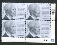 UNNY 1217 $1.30 Definitive Kofi Anan Mint NH  Inscription Block unny1217mi