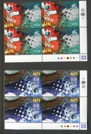 UNNY 1225-26 55c, $1.15 Climate Change Set of 2 Mint NH Inscription Blocks unny1225-6m