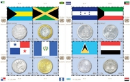 UNNY  998 2010 44c Coins & Flags sheet unny998