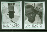 UNV 521-2 .70, 1.70 UN World Radio Inscription Blocks UNV521-2ib