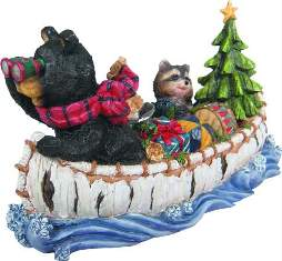 CHRISTMAS BOAT--BEAR & RACCOON gd984