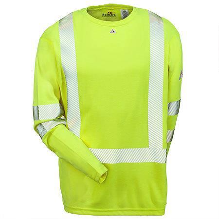 Bulwark Hi-Visibility Flame-Resistant Long Sleeve T-Shirt - Power Dry� FR  SMK2HV