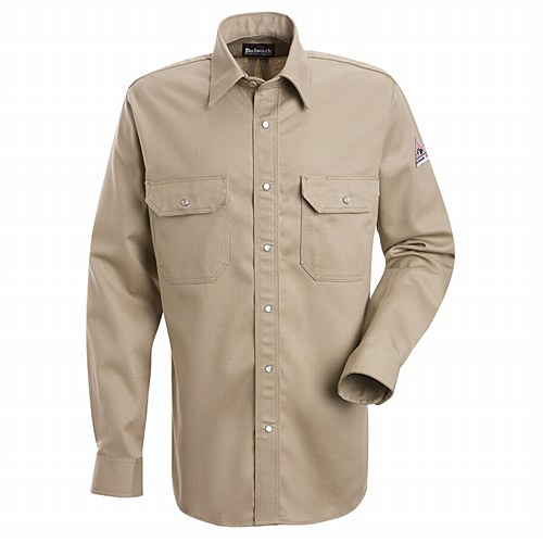 Bulwark Shirts: SES2 TN Men's FR Snap Front Long Sleeve Tan Shirt #BLWSES2TN