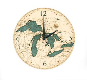 "Great Lakes Clock, 12"" Diameter - WoodChart GRL-CLK"