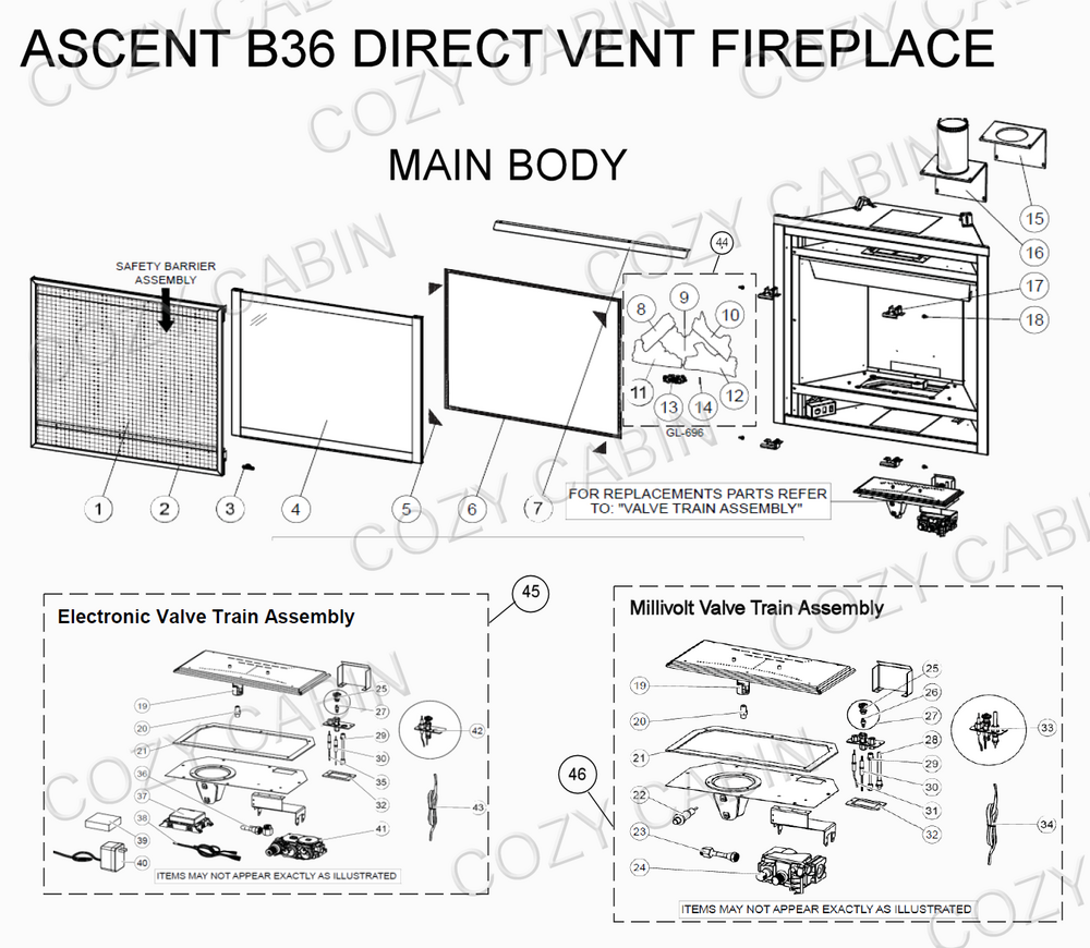 Ascent Direct Vent Fireplace (B36) (B36) Napoleon Parts on